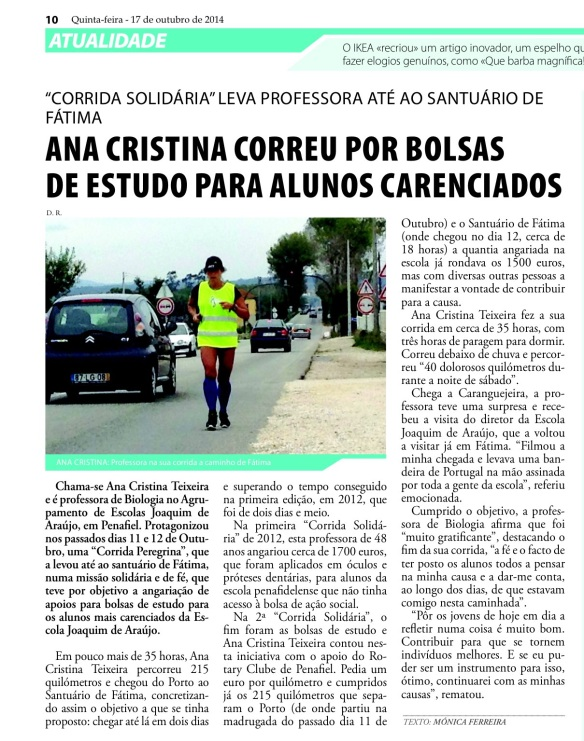 News paper article about Ana Teixeira